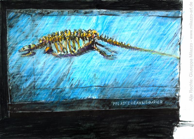 Pflasterzahnsaurier in Glasvitrine
