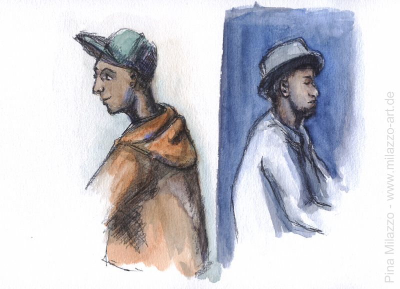 Mit Kappe und Hut (Bleistift mit Aquarell)