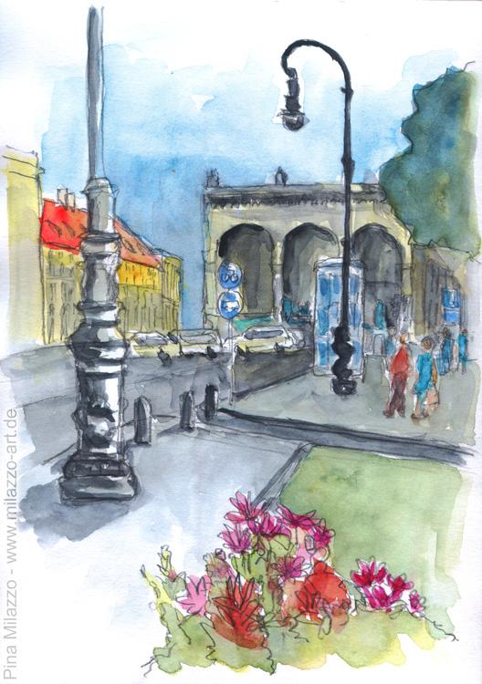 Blick auf den Odeonsplatz und die Felherrenhalle