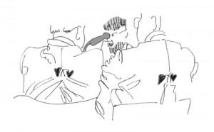 Den Jacken nach, bestickt mit dem Tegernseer Laub,waren es hiesige, hinter denen wir, Tano und ich, saßen.