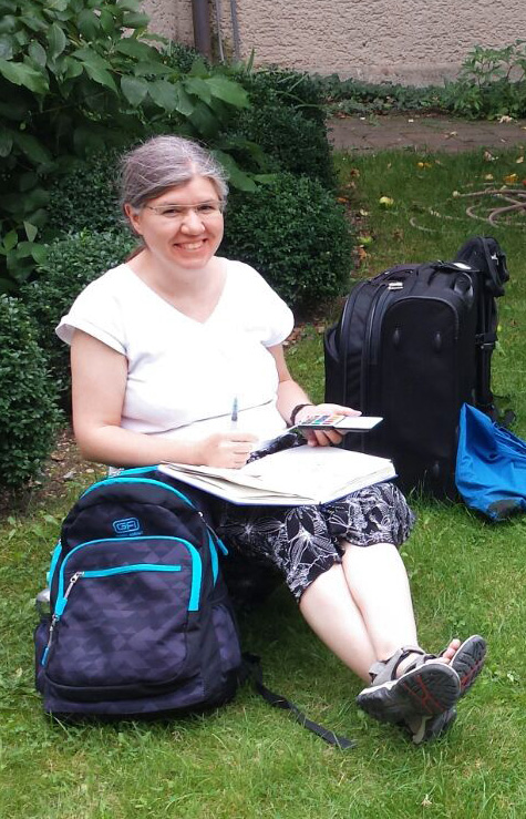 Zeichnen im Garten der Seidlvilla