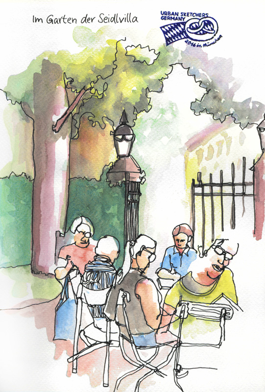Urban Sketcher im Garten der Seidlvilla